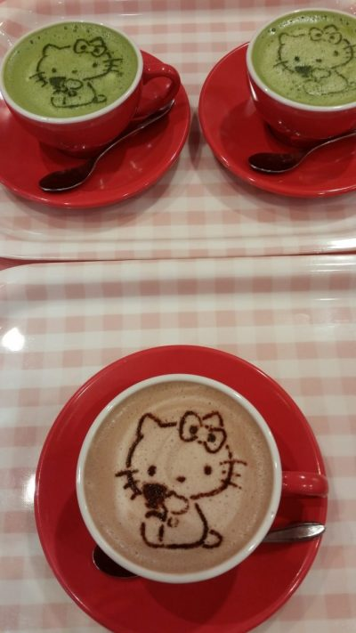 Hello Kitty  on hot chocolate and matcha drinks