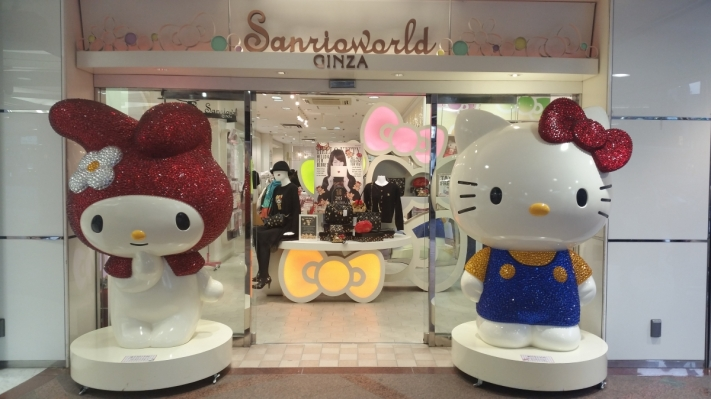 Hello Kitty statue at the entrance of the flagship shop Sanrioworld in Ginza, Tokyo