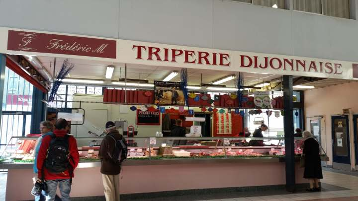 Tripe stall in food market in dijon france