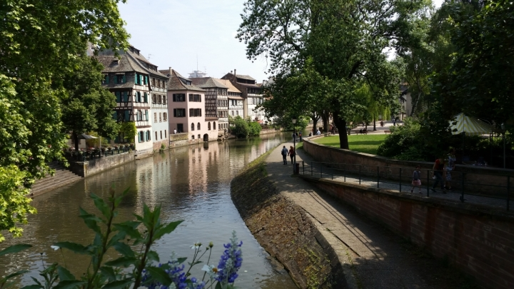 View from bridge of river in Strasbourg alsace france