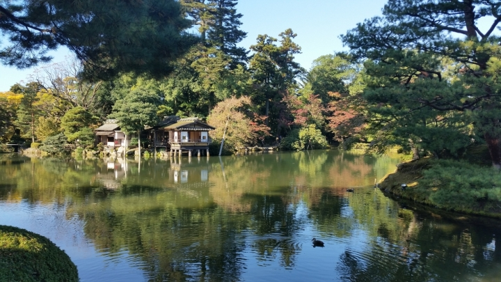 Kenrokuen Garden pond with teahouse