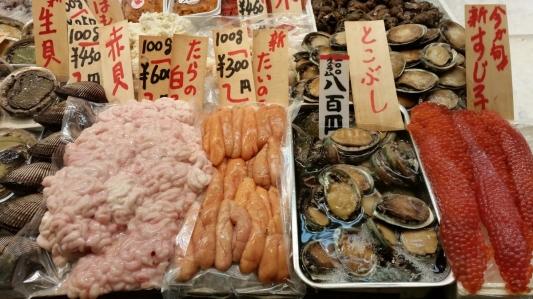 seafood at nishiki market kyoto