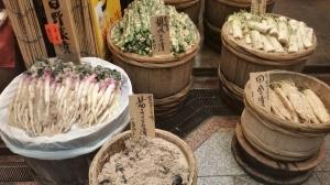 pickles on display nishiki market kyoto