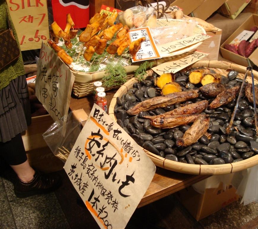 seafood display at nishiki market kyoto