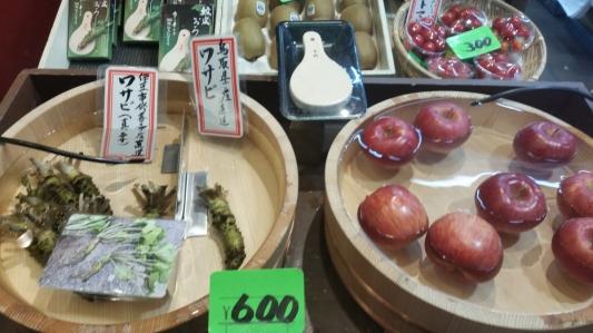 wasabi and apple display nishiki market kyoto