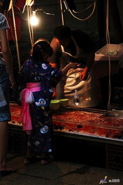 A child dressed in traditional yukata plays kingyo sukai the goldfish scooping game at a summer matsuri festival in Japan