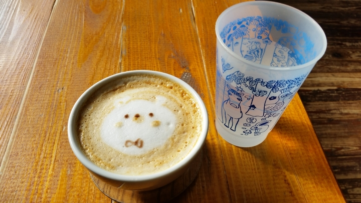 Kawaii caramel milk hot drink with bear cartoon Hattifnatt Cafe Kichijoji Tokyo