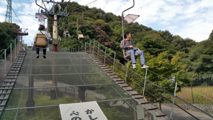 chairlift ride up to Matsuyama Castle in Japan