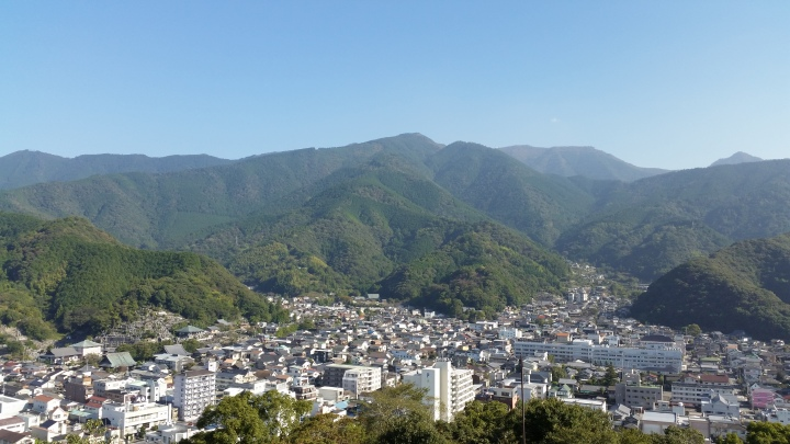 View of mountains from the back of Uwajima Castle in Ehime prefecture