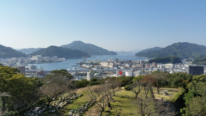 View of the sea and coast from the front of Uwajima Castle