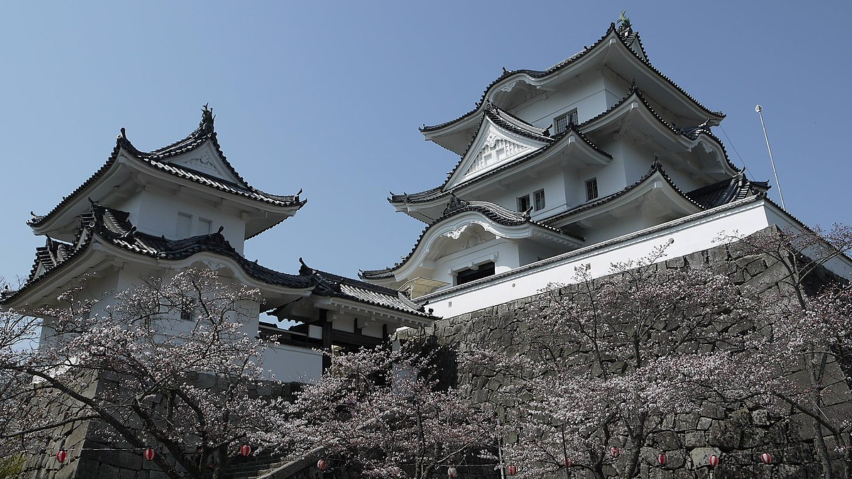 Looking up at the white structure of Iga Ueno Castle in Iga Mie Prefecture Japan